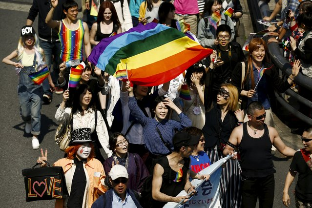 Participants march during the Tokyo Rainbow Pride parade in Tokyo April 26, 2015. (Photo by Thomas Peter/Reuters)