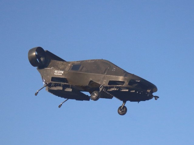 This image provided by Urban Aeronautics/Tactical Robotics shows an Israeli-made flying car. Urban Aeronautics conducted flight tests of its passenger-carrying drone call the Cormorant in Megiddo, Israel, late in 2016. The company says the aircraft can fly between buildings and below power lines, attain speeds up to 115 mph, stay aloft for an hour and carry up to 1,100 pounds. (Photo by Urban Aeronautics/Tactical Robotics via AP Photo)