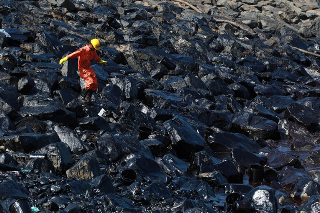 An emergency worker walks amidst oil deposits as he cleans oil from the shoreline of Ennore Port following a collision between two oil tankers, in Chennai, India February 2, 2017. (Photo by Reuters/Stringer)