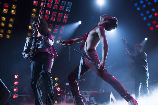 "This image released by Twentieth Century Fox shows Gwilym Lee, from left, Rami Malek and Joe Mazzello in a scene from ""Bohemian Rhapsody"". (Photo br Alex Bailey/Twentieth Century Fox via AP Photo)"