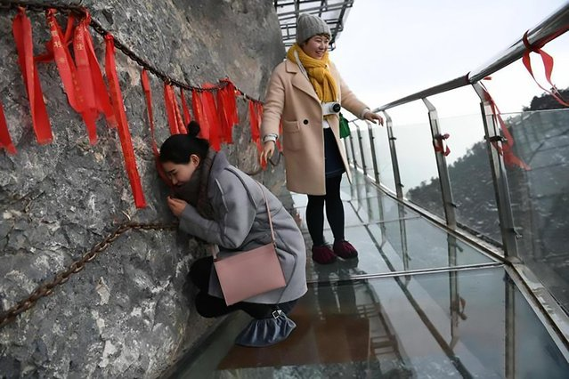 A glass skywalk in Wanyuan, Sichuan province, built along the side of a cliff, is the highest such skywalk anywhere in China on January 31, 2017. Some visitors have been proven to be terrified by the experience had to brace against the wall in fear. (Photo by Chinanew.com/AsiaWire)