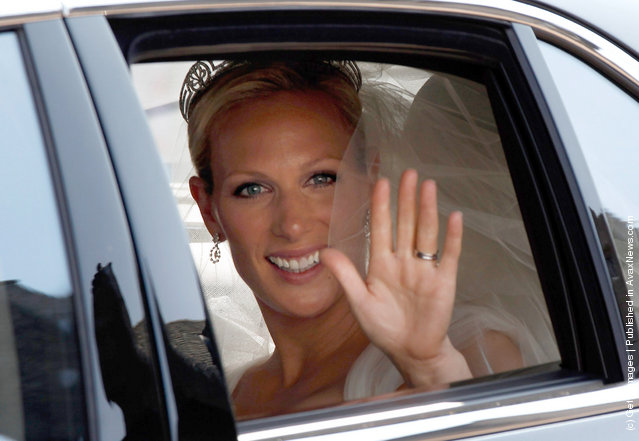 Zara Phillips arrives back at The Palace of Holyroodhouse after her marriage to Mike Tindall on July 30, 2011 in Edinburgh, Scotland