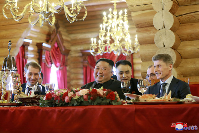 North Korean leader Kim Jong Un attends a luncheon with Minister for the Development of the Russian Far East Alexander Kozlov and governor of Primorsky Region Oleg Kozhemyako, in this undated photo released on April 27, 2019 by North Korea's Central News Agency (KCNA). (Photo by KCNA via Reuters)