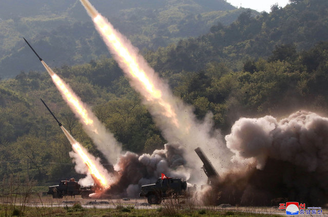 "This Thursday, May 9, 2019, photo provided Friday, May 10, 2019, by the North Korean government shows a test of military weapon systems in North Korea. North Korea fired two suspected short-range missiles toward the sea on Thursday, South Korean officials said, its second weapons launch in five days and a possible warning that nuclear disarmament talks with Washington could be in danger. Independent journalists were not given access to cover the event depicted in this image distributed by the North Korean government. The content of this image is as provided and cannot be independently verified. Korean language watermark on image as provided by source reads: ""KCNA"" which is the abbreviation for Korean Central News Agency. (Photo by Korean Central News Agency/Korea News Service via AP Photo)"