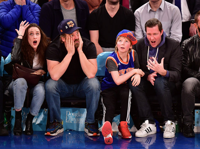 David Harbour, Finn Burns and Ed Burns attend Toronto Raptors Vs. New York Knicks game at Madison Square Garden on February 27, 2017 in New York City. (Photo by James Devaney/GC Images)