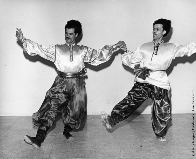 1961: Two traditional folk dancers performing in Teheran, Iran