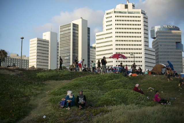 Muslims sit in a perk near the Mediterranean sea in Tel Aviv during Eid al-Fitr, which marks the end of the holy month of Ramadan, July 19, 2015. (Photo by Baz Ratner/Reuters)