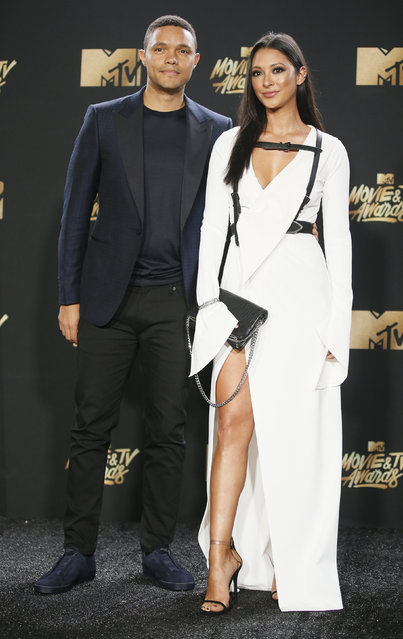 Trevor Noah and Jordyn Taylor attend the 2017 MTV Movie And TV Awards at The Shrine Auditorium on May 7, 2017 in Los Angeles, California. (Photo by Danny Moloshok/Reuters)