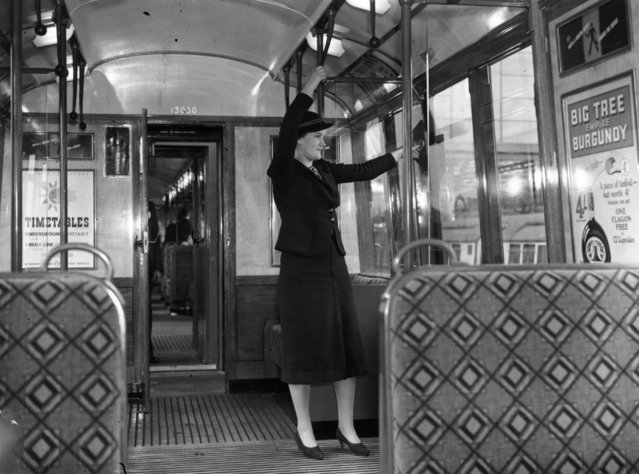 "A woman in a ""new design"" London Underground train, 1st August 1937. (Photo by David Savill/Topical Press Agency/Getty Images)"