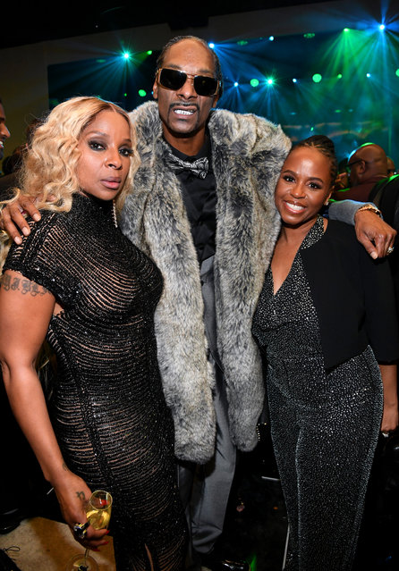 (L-R) Mary J. Blige, Snoop Dogg, and Shante Broadus attend Sean Combs 50th Birthday Bash presented by Ciroc Vodka on December 14, 2019 in Los Angeles, California. (Photo by Kevin Mazur/Getty Images for Sean Combs)