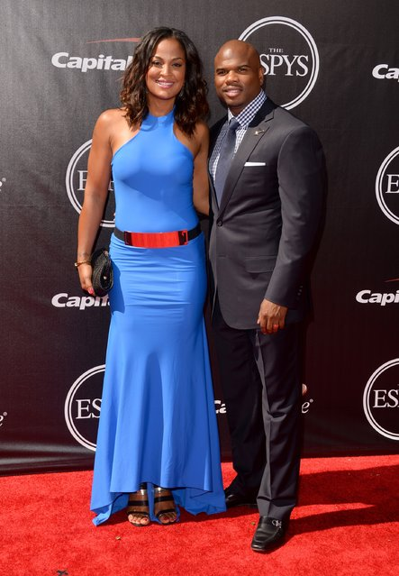 Female Boxer Laila Ali and husband former NFL player Curtis Conway attend The 2014 ESPYS at Nokia Theatre L.A. Live on July 16, 2014 in Los Angeles, California. (Photo by Jason Merritt/Getty Images)
