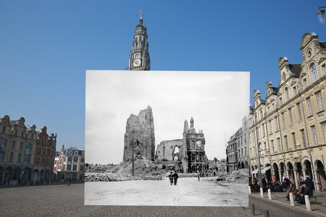 People walk near Place des Heros on March 14, 2014 in Arras, France. Inset: the town hall and the belfry of Arras in ruins, seen from the main square, Pas-de-Calais. (Photo by Peter Macdiarmid/Getty Images)