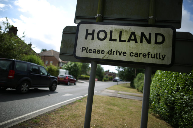 A sign informs drivers on July 29, 2013 in Holland, England. The village of Holland lies south of Oxted on the Surrey Kent border. The main local employer, an industrial estate in the village, is being demolished to make way for a housing development. (Photo by Peter Macdiarmid/Getty Images)