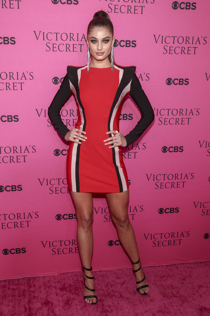 Taylor Hill attends the Victoria's Secret fashion show viewing party at Spring Studios on Tuesday, November 28, 2017, in New York. (Photo by Andy Kropa/Invision/AP Photo)