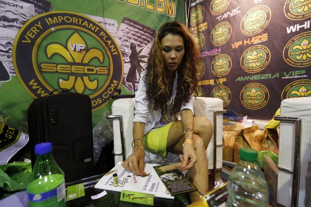 "A woman rolls a marijuana cigarette during the first ""Expo Cannabis"" fair  in Montevideo December 14, 2014. Expo Cannabis offers conferences about different topics such as the medicinal use of cannabis and cultivation techniques as well as displaying hemp goods, cannabis cultivation items and seeds. (Photo by Andres Stapff/Reuters)"