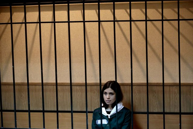 Despite her occasional levity, Tolokonnikova spent much of the hearing in a more serious mood, on April 26, 2013. (Photo by Mikhail Metzel/Associated Press)
