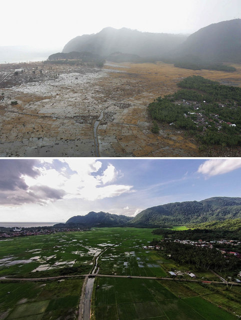 TOP IMAGE: An aerial shot taken from a US Navy Seahawk helicopter from carrier USS Abraham Lincoln shows devastation caused by the Indian Ocean tsunami to the west of Aceh on January 8, 2005 in Banda Aceh, Indonesia. (Photo by Dimas Ardian/Getty Images) BOTTOM IMAGE: An aerial view in Lampuuk prior to the ten year anniversary of the 2004 earthquake and tsunami on December 11, 2014 in Banda Aceh, Indonesia. (Photos by Ulet Ifansasti/Getty Images)