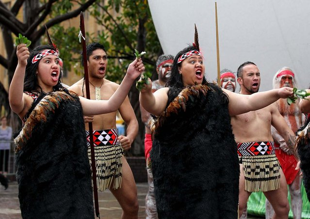 The Te Arawa cultural performance group performs during the opening ceremony for Tourism New Zealand's Giant Rugby Ball in Sydney, Australia. (Photo by Cameron Spencer/Getty Images for Tourism NZ)