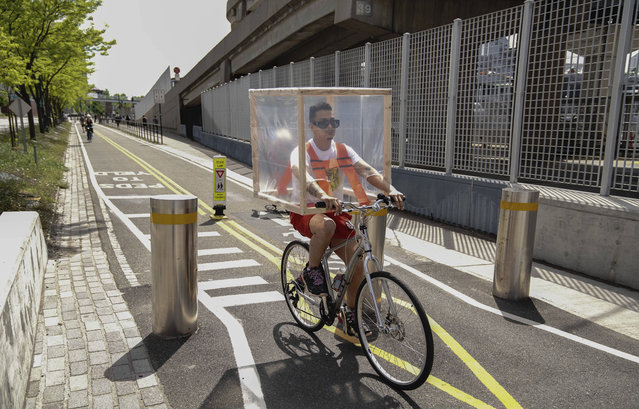 A view of a person with his DIY protection while cycling at Hudson Bicycle Path during the coronavirus pandemic on May 16, 2020 in New York City. COVID-19 has spread to most countries around the world, claiming over 308,000 lives with over 4.6 million infections reported. (Photo by John Nacion/STAR MAX/IPx)