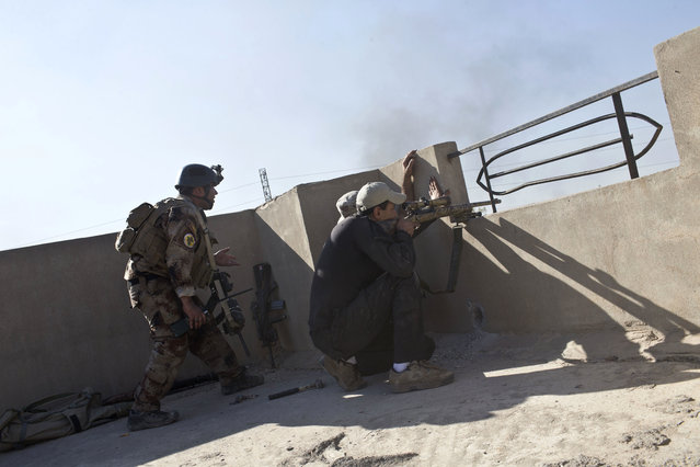 Iraqi special forces soldiers fire at Islamic State positions on the outskirts of Mosul, Iraq, Friday, November 4, 2016. (Photo by Marko Drobnjakovic/AP Photo)