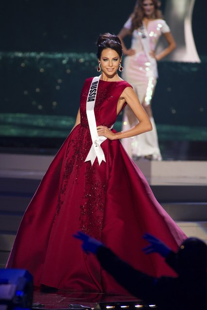 Yulia Alipova, Miss Russia 2014 competes on stage in her evening gown during the Miss Universe Preliminary Show in Miami, Florida in this January 21, 2015 handout photo. (Photo by Reuters/Miss Universe Organization)