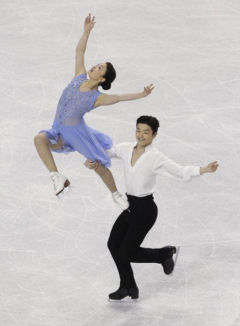 Maia Shibutani and Alex Shibutani perform during their free dance program at the U.S. Figure Skating Championships in Greensboro, N.C., Saturday, January 24, 2015. (Photo by Chuck Burton/AP Photo)