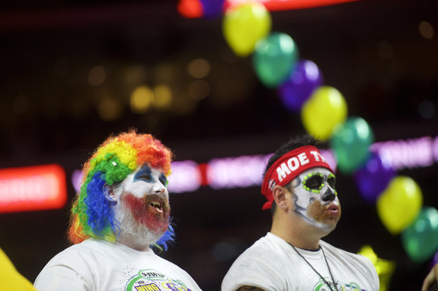 Contestants compete in the 23rd annual Wing Bowl at the Wells Fargo Center in Philadelphia, Pennsylvania January 30, 2015. (Photo by Mark Makela/Reuters)