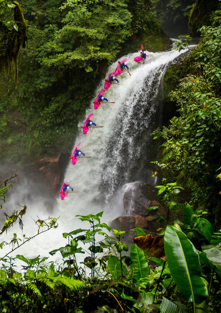 Ben Marr tumbling down the waterfall in Vera Cruz, Mexico. (Photo by Jasper Gibson/Caters News)