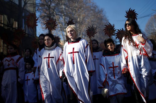 """Participants march on the street during """"Alilo"""", a religious procession to celebrate Christmas in Tbilisi, Georgia, January 7, 2017. (Photo by David Mdzinarishvili/Reuters)"""