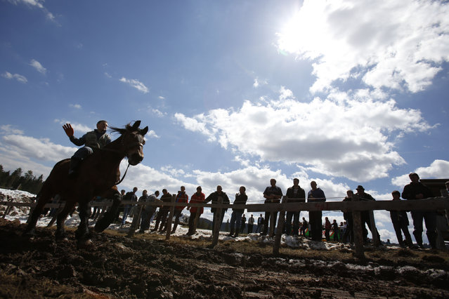 A Bosnian boy ride on a horse before a festival of  log pulling  in the Bosnian town of Sokolac 50 kms west of Sarajevo, Bosnia,on Monday, April, 13, 2015. (Photo by Amel Emric/AP Photo)
