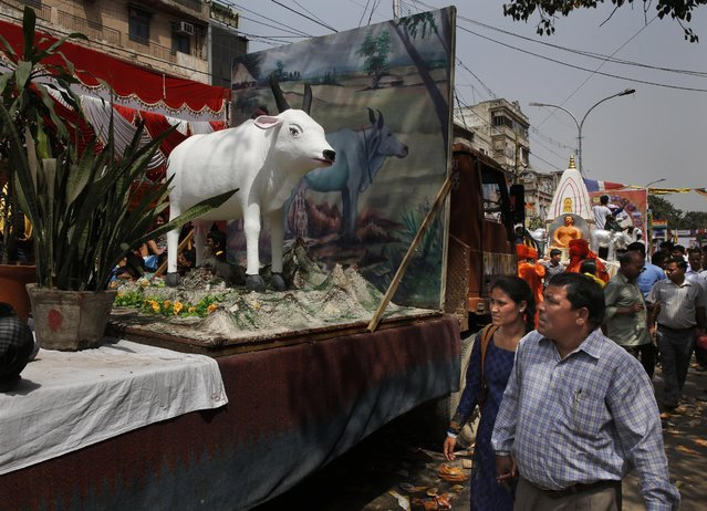 People look at a tableau carrying a sculpture of a cow, considered holy by Hindus and Jains, during a procession on the occasion of Mahavir Jayanti, a religious festival celebrated by Jains to commemorate the birth of Lord Mahavira, in New Delhi, India Thursday, April, 2, 2015. Mahavira, is the last of twenty-four Teerthankaras (Jain Prophets) and has been acclaimed as one of the supreme teachers and a social reformer. (Photo by Manish Swarup/AP Photo)
