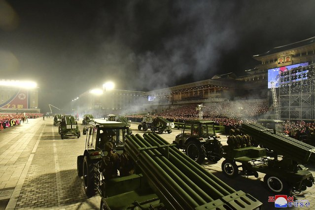 In this photo provided by the North Korean government, military hardware is seen during a celebration of the nation's 73rd anniversary that was overseen by leader Kim Jong Un, at Kim Il Sung Square in Pyongyang, North Korea, early Thursday, September 9, 2021. (Photo by KCNA via KNS/AFP Photo/Stringer)