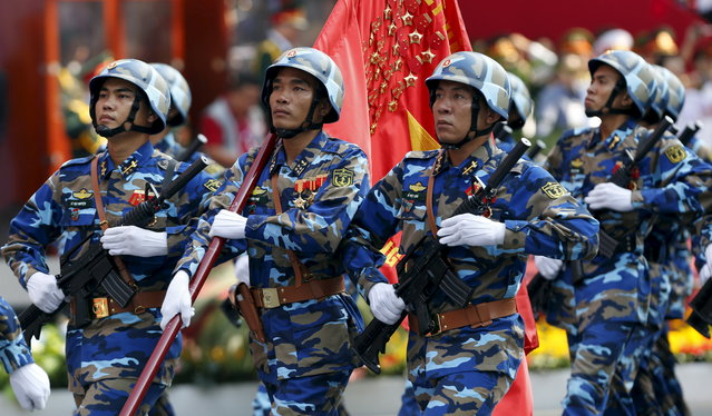 Vietnamese Marine Force personnel march during a military parade as part of the 40th anniversary of the fall of Saigon in Ho Chi Minh City, April 30, 2015. (Photo by Reuters/Kham)