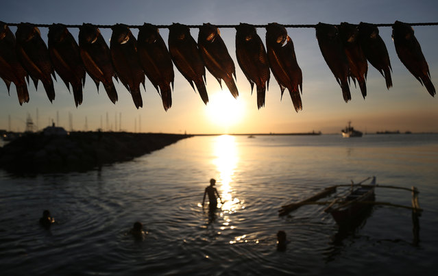 Fish are hung out to dry in the sun as Filipino children play in the murky waters of Manila's bay, Philippines, Sunday, January 10, 2016. (Photo by Aaron Favila/AP Photo)