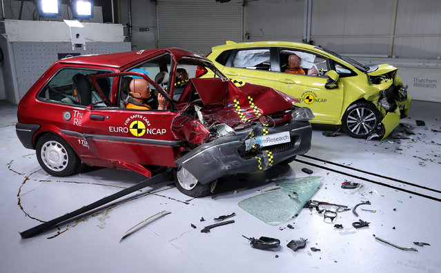 A 1997 Rover 100 (left) and a Honda Jazz after being crash-tested at Thatcham research centre to mark the facility's 20th anniversary in Berkshire, England on February 1, 2017. (Photo by Andrew Matthews/PA Wire)