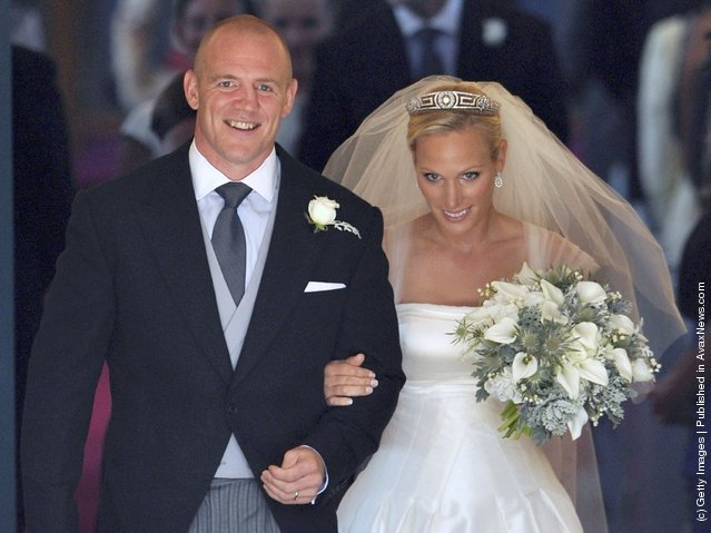 England rugby captain Mike Tindall and Zara Phillips leave the church after their marriage at Canongate Kirk on July 30, 2011 in Edinburgh, Scotland