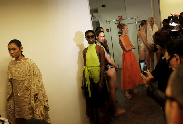 Models prepare backstage before Lenny Niemeyer show during Sao Paulo Fashion Week in Sao Paulo, Brazil, April 23, 2019. (Photo by Nacho Doce/Reuters)