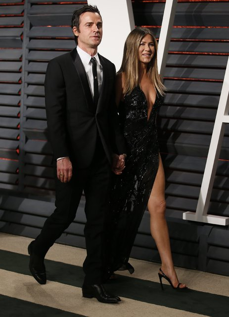 Jennifer Aniston and Justin Theroux arrive for the Vanity Fair Oscar Party hosted by Graydon Carter at the Wallis Annenberg Center for the Performing Arts on February 26, 2017 in Beverly Hills, California. (Photo by Danny Moloshok/Reuters)