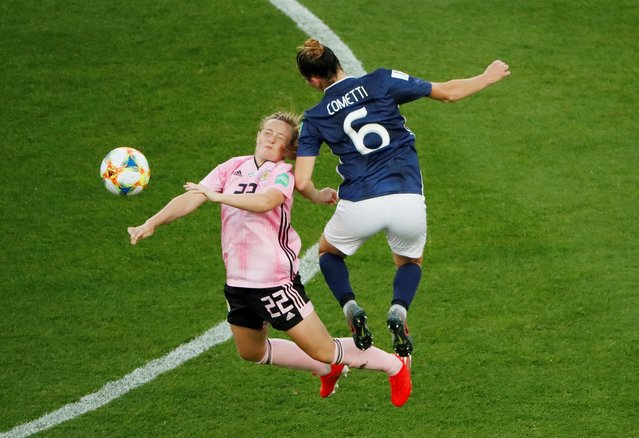 Erin Cuthbert of Scotland battles for possession with Aldana Cometti of Argentina during the 2019 FIFA Women's World Cup France group D match between Scotland and Argentina at Parc des Princes on June 19, 2019 in Paris, France. (Photo by Gonzalo Fuentes/Reuters)