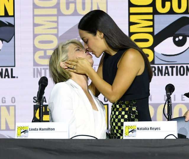 """Linda Hamilton and Natalia Reyes speak at the """"Terminator: Dark Fate"""" panel during 2019 Comic-Con International at San Diego Convention Center on July 18, 2019 in San Diego, California. (Photo by Kevin Winter/Getty Images)"""
