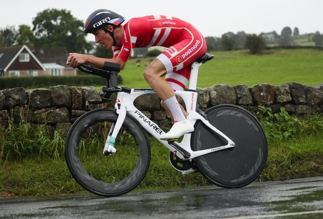 Denmark's Mikkel Bjerg competes on his way to win the men under 23 individual time trial event, at the road cycling World Championships in Harrogate, England, Tuesday, September 24, 2019. (Photo by Manu Fernandez/AP Photo)
