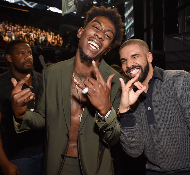 Recording artists Desiigner (L) and Drake attend the 2017 Billboard Music Awards at T-Mobile Arena on May 21, 2017 in Las Vegas, Nevada. (Photo by Kevin Mazur/BBMA2017/Getty Images for dcp)