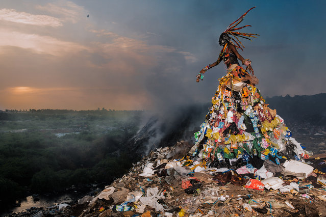 "Fabrice Monteiro travelled to the most polluted places in Africa and created terrifying characters who roamed their midst dressed in eerie debris. They are spirits, he says, on a mission to make humans change their ways. Informed by Africa's environmental problems, Fabrice Monteiro's photographs aim to highlight urgent ecological issues all over the world. His series ""The Prophecy"" is on show at Photo Basel 2017 until 18 June. (Photo by Fabrice Monteiro/Photo Basel 2017/Mariane Ibrahim Gallery/The Guardian)"
