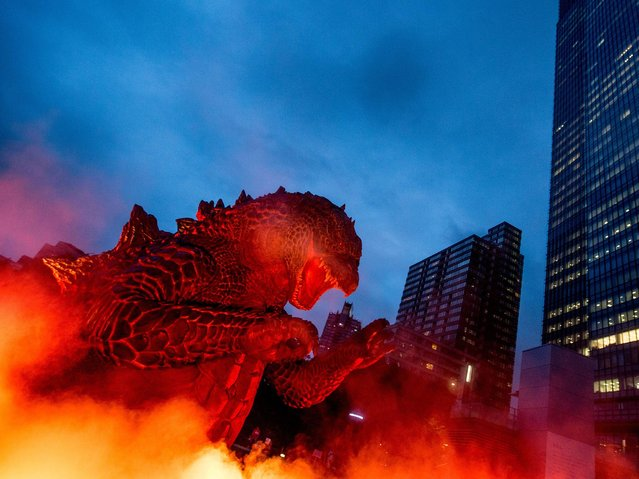 """A 6.6 meter replica Godzilla is lit up during a press preview at Tokyo Midtown on July 17, 2014 in Tokyo, Japan. The """"MIDTOWN Meets GODZILLA"""" project is in collaboration with the Japan release of the Hollywood film version of """"Godzilla"""" The Godzilla built on the lawns of Tokyo Midtown will host a light show everynight complete with mist, audio and fire rays. (Photo by Chris McGrath/Getty Images)"""