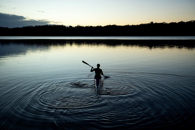 Australian Olympic Kayaker Jo Brigden-Jones trains in isolation at Narrabeen Lake on April 21, 2020 in Sydney, Australia. Athletes across the country are now training in isolation under strict policies in place due to the Covid-19 pandemic. (Photo by Cameron Spencer/Getty Images)