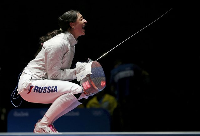 2016 Rio Olympics, Fencing, Semifinal, Women's Sabre Individual Semifinals, Carioca Arena 3, Rio de Janeiro, Brazil on August 8, 2016. Yana Egorian (RUS) of Russia celebrates winning the match. (Photo by Issei Kato/Reuters)