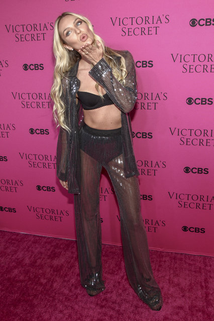 Candice Swanepoel attends the Victoria's Secret fashion show viewing party at Spring Studios on Tuesday, November 28, 2017, in New York. (Photo by Andy Kropa/Invision/AP Photo)