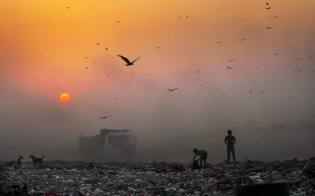 A thick blanket of smoke is seen against the setting sun as young ragpickers search for reusable material at a garbage dump in New Delhi, India, Friday, October 17, 2014. India launched the Air Quality Index Friday to measure air quality across the nation that is home to some of the most polluted cities in the world. It will measure eight major pollutants that impact respiratory health in cities with populations exceeding 1 million in the next five years and then gradually the rest of the country, Environment Minister Prakash told reporters. (Photo by Altaf Qadri/AP Photo)