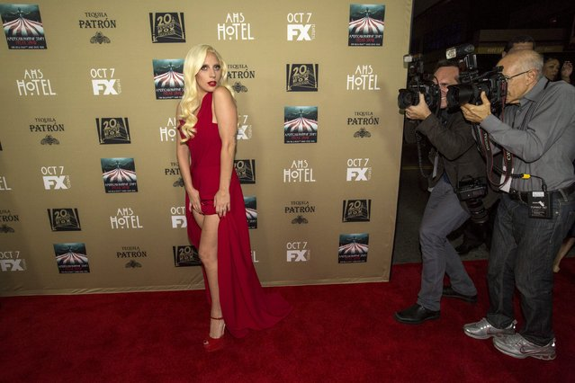 """Cast member Lady Gaga poses at a premiere screening of """"American Horror Story: Hotel"""" in Los Angeles, California October 3, 2015. (Photo by Mario Anzuoni/Reuters)"""