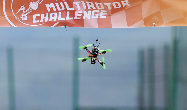 A racing drone flies during the first SPARK Multirotor Challenge in Mostar, Bosnia and Herzegovina September 10, 2016. (Photo by Dado Ruvic/Reuters)